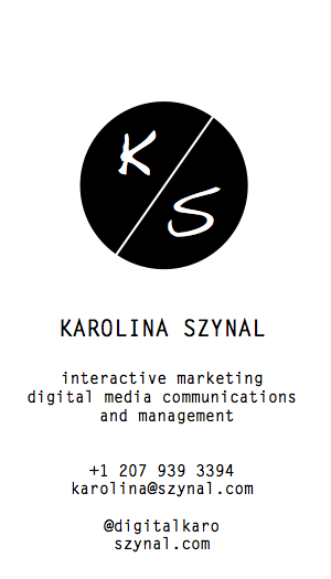 Karolina Szynal business card back